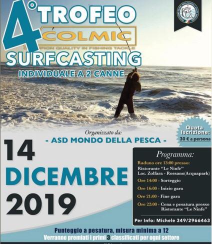 Gara SurfCasting – 4 Trofeo Colmic – 14 Dicembre 2019